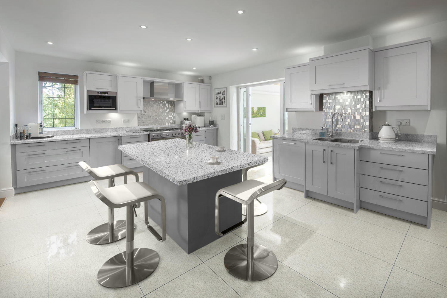 Grey Engineered Granite With A White Base For Kitchen Worktops